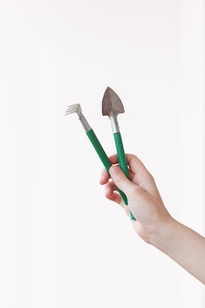 Set of garden tools isolated on white background and clipping path.