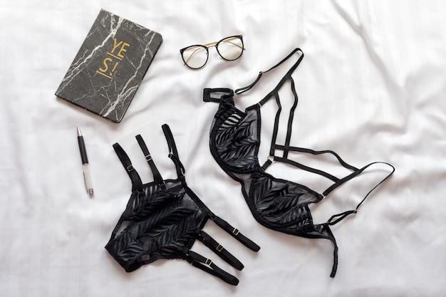 Set of glamorous stylish sexy lace lingerie with woman accessories