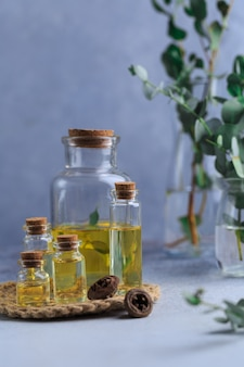 Set of glass bottles with eucalyptus essential oil on grey table leaves in vase