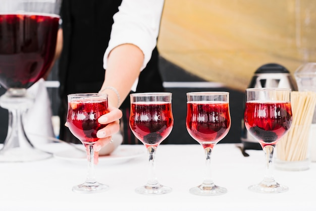 Set of glasses with alcohol on a table