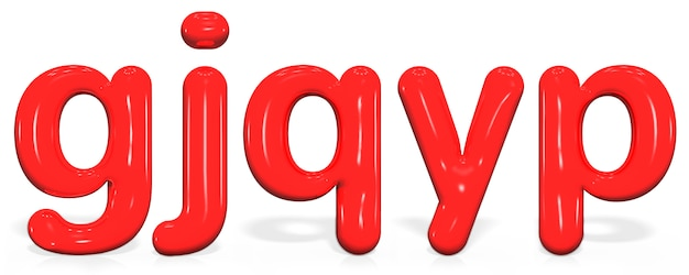 Set glossy paint letter g, j, q, y, p lowercase of bubble
