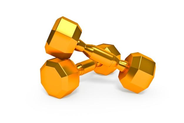 Set of gold dumbells  on white background