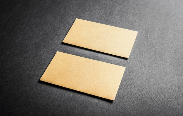 Set of golden business cards. blank business cards for company style.