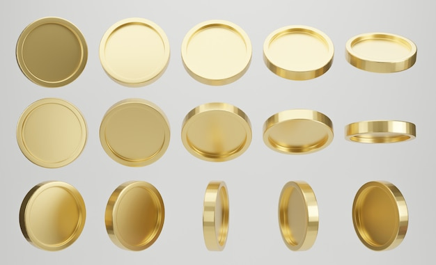 Set of golden coin on white background. 3d rendering.