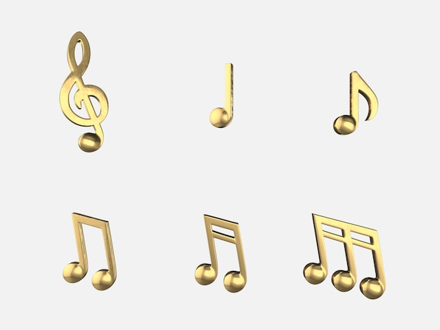 Set of golden music notes .3d rendering