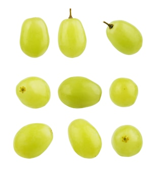 Set of grape berries on a white background