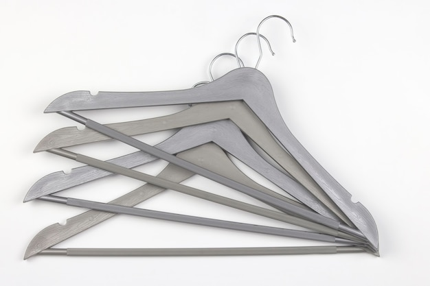 Set of gray clothes hangers