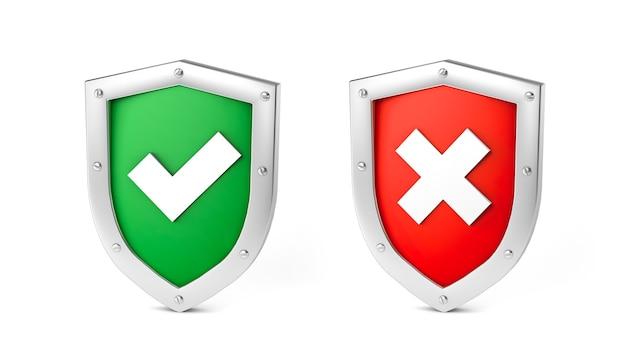 확인 표시가 있는 녹색 방패 설정 및 교차 개념이 있는 빨간색 설정은 승인 또는 거부됨 격리됨