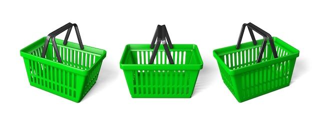 グリーンの買い物かごを設定します。白い背景で隔離。 3dレンダリング。