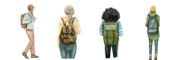 Установить группу молодых туристов, путешествующих людей с рюкзаком для путешествий