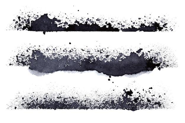Set of grunge stripes isolated on the white background - raster illustration