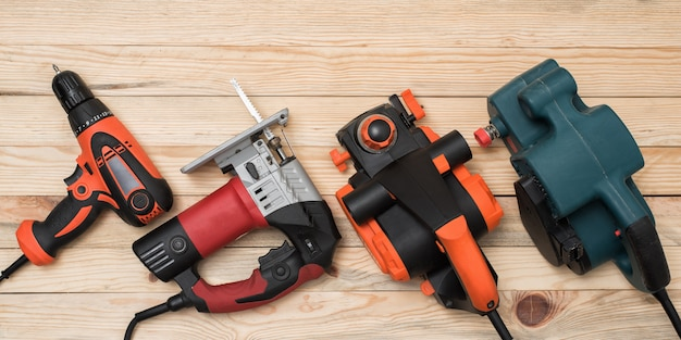 Set of hand carpentry power tools for woodworking