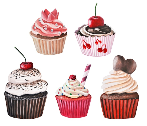 Set of hand drawn cupcakes, cupcakes. drawing in gouache and watercolors.