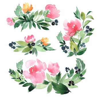 Set of hand drawn watercolor illustration of abstract green branch and flowers bouquets