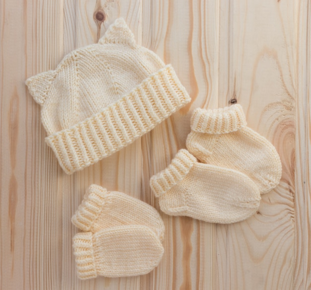 Set of hand knitted baby accessories
