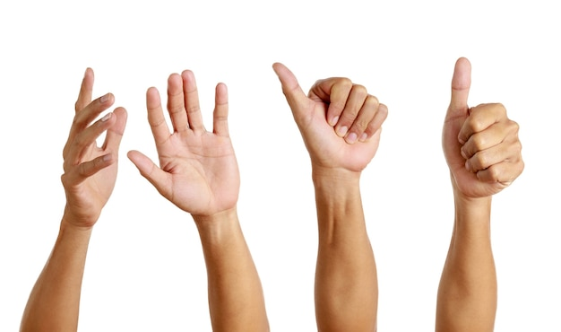 Set of hand man show symbol isolated on white