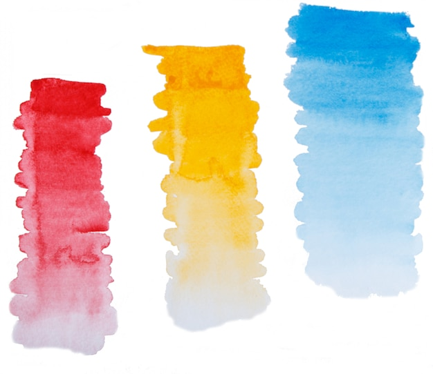 Set of hand painted watercolor gradient brush strokes
