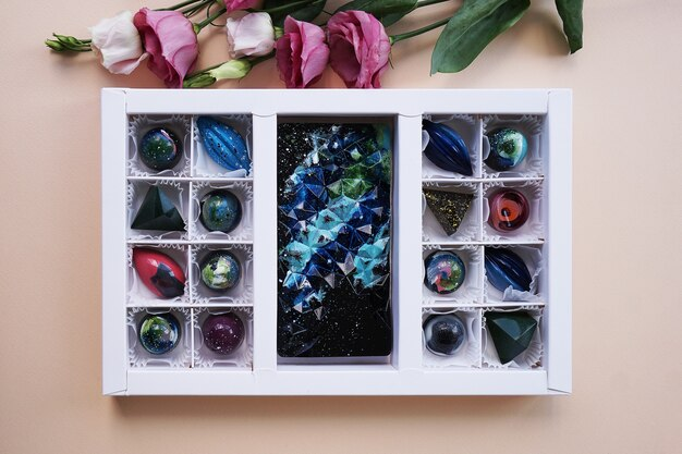 A set of handmade candies in festive packaging