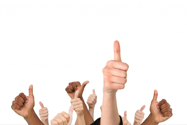 Set of hands with thumbs up