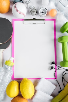Set of healthy lifestyle objects and clipboard