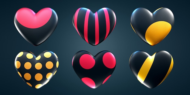 Set of hearts of different patterns on an isolated dark background.