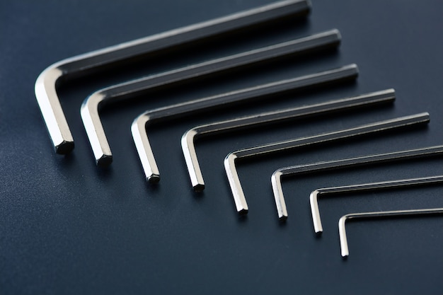 Set of hexagonal bits, closeup. professional instrument, worker equipment, screwing tools, hexagon type toolkit