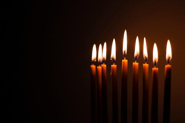 Set of holy candles burning
