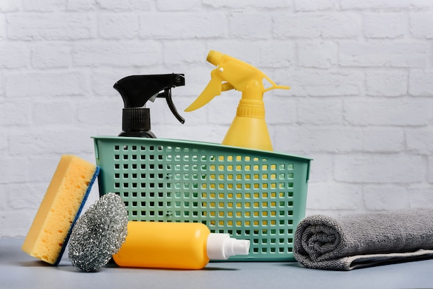 A set of home care cleaning products.