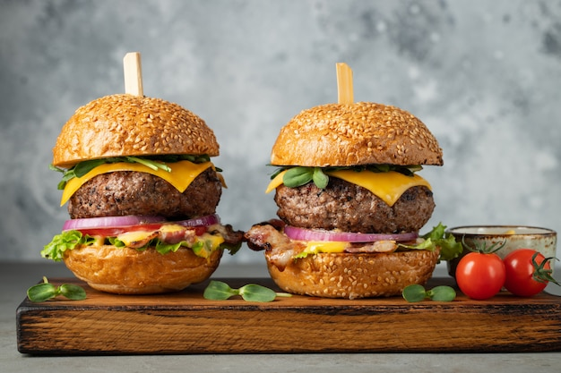 A set of homemade delicious burgers.
