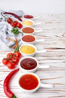 Set of homemade sauces