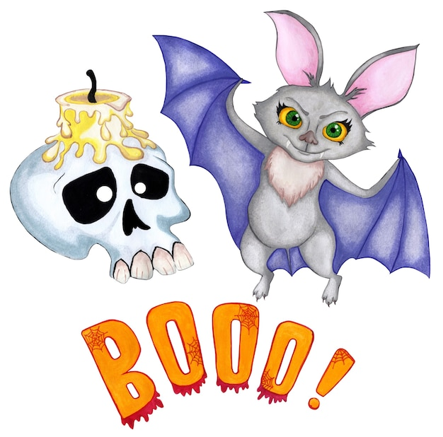 Set illustration for halloween a bat with large yellow eyes and purple wings a crafted skull