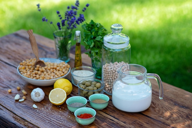 Set of ingredients for hummus on the table