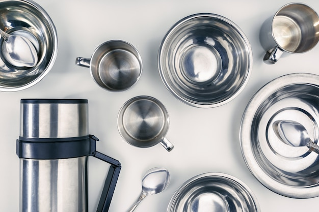 Set of iron tableware and thermos