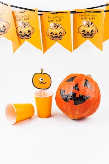 Set of items designed for halloween party