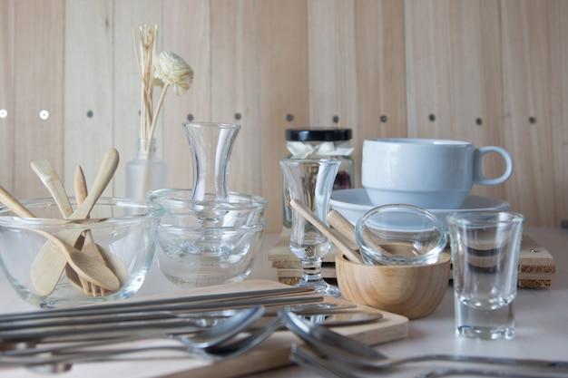 Set of kitchen ware on table, kitchen utensils.