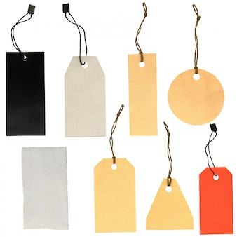 Set of labels of various shapes on a white