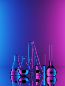 Set of laboratory glassware on blue neon background. 3d rendering illustration.