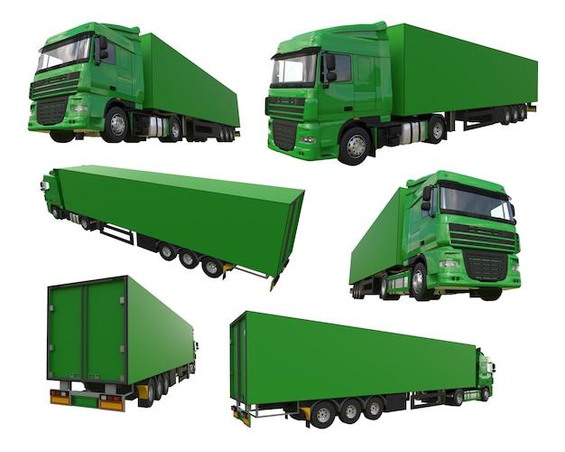 세미트레일러가 있는 대형 녹색 트럭을 설정합니다. 그래픽을 배치하기 위한 템플릿입니다. 3d 렌더링.