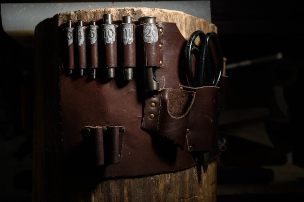 Set of leather craft tools
