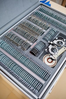 A set of lenses for checking vision and selecting glasses with different diopters. selection of glasses for vision.