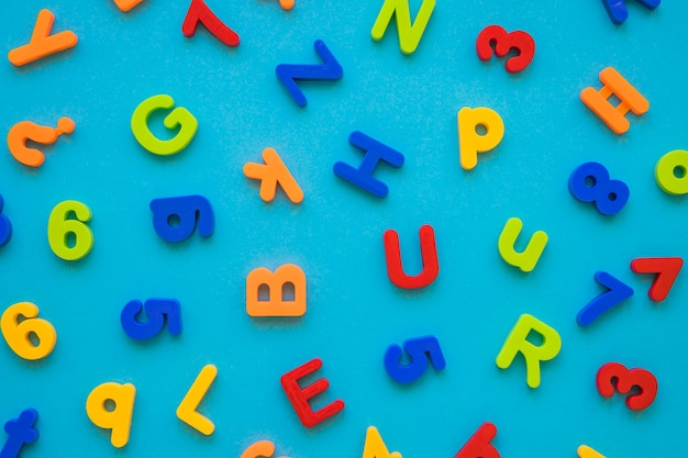 Set of letters and figures