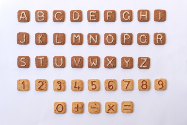 A set of letters and numbers from cookies. alphabet and numbers.