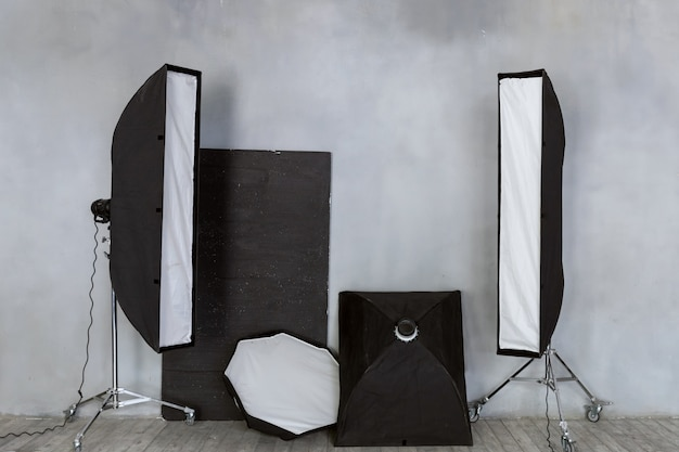 A set of lighting equipment. pulsed light in the studio.