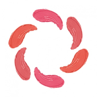 Set of lipstick strokes, pattern of makeup smudges isolated on white