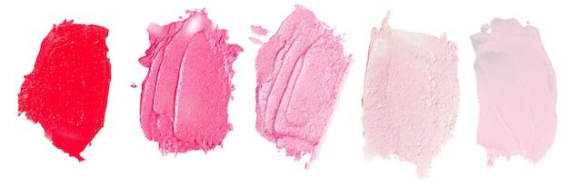 Set of lipsticks smears lipstick isolated on white