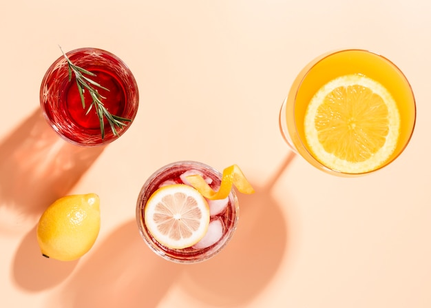 Set of lovely drinks in flat lay