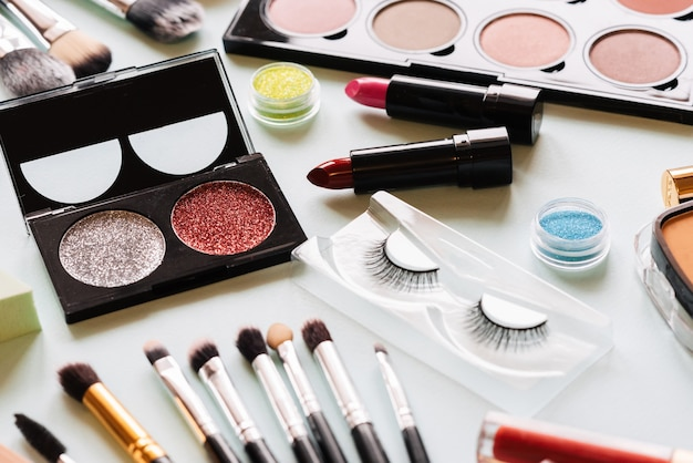 Set of makeup on a light background. the view from the top