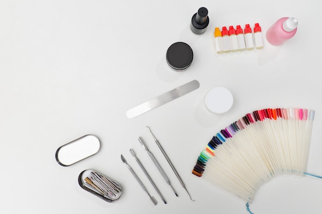 Set for manicure. tools, nail file, palette, care products.