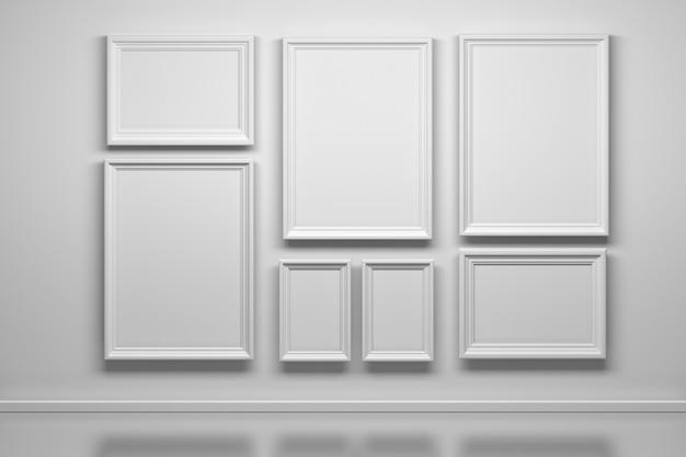 Set of many white frames background
