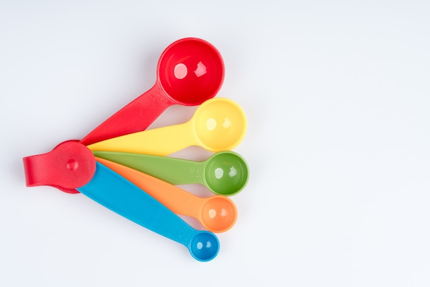 Set of measuring spoons made of colored plastic